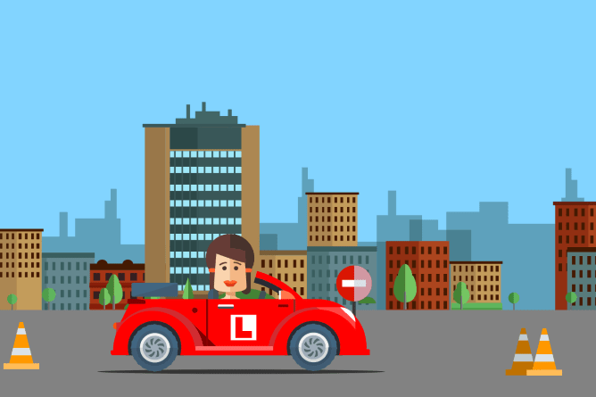 Cartoon woman in red car with L plates driving through a course with traffic cones