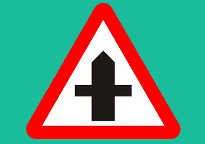 A crossroads ahead road sign