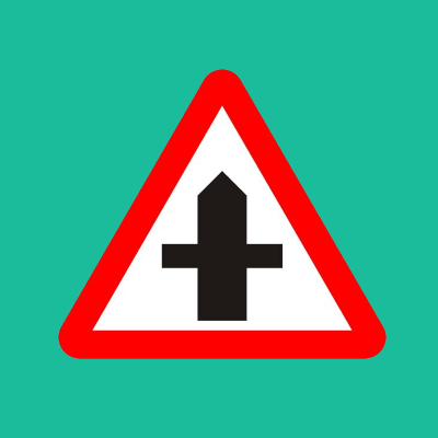 Crossroads ahead road sign