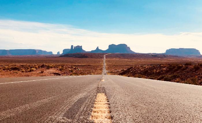 Long road through desert