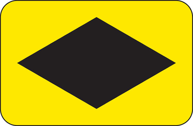 Diamond diversion direction UK road sign