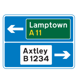 Directions from junction ahead road sign