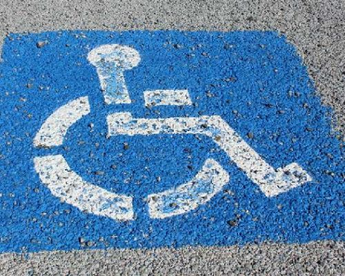 Blue symbol to mark a disabled parking space
