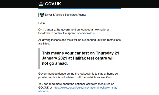 An example of an email received by customers with driving tests cancelled because of COVID-19