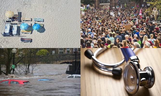 Photos illustrating the common driving test cancellation reasons: a beach (symbolising leave), a protest (symbolising disputes), a flood (symbolising acts of nature) and a stethoscope (symbolising medical absences)