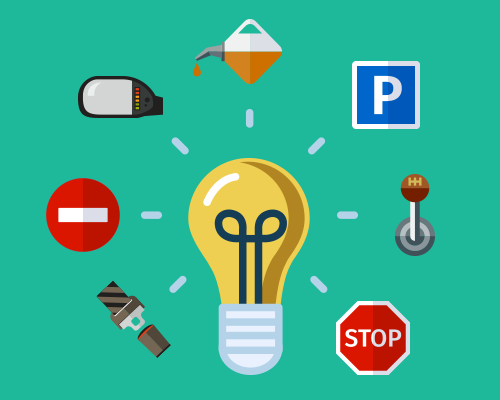 Light bulb surrounded by driving objects