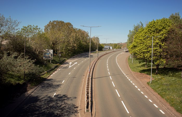 Empty dual carriageway in Newport, Wales