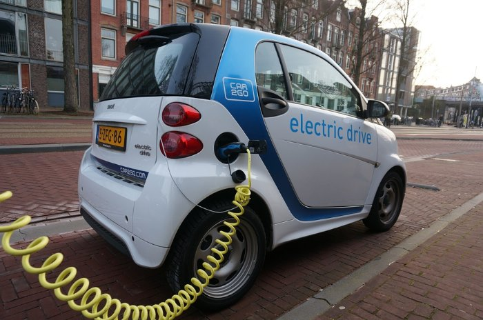 An electric Smart car charging in Amsterdam
