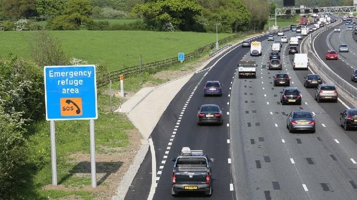 Emergency refuge area sign on a smart motorway