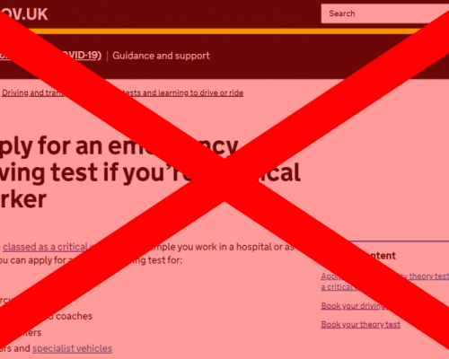 "Screenshot of the emergency test booking page on GOV.UK with a red ""X"" over it to show that the service has now closed."