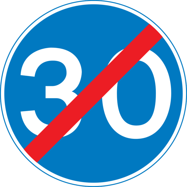 End of minimum speed limit sign