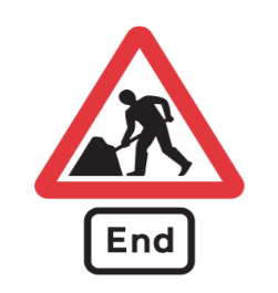 End of road works road sign