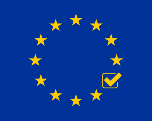 EU flag with one of the 12 stars replaced with a PassMeFast checkmark