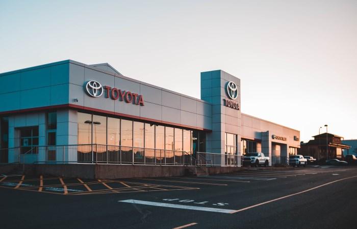 Exterior shot of Toyota car dealership