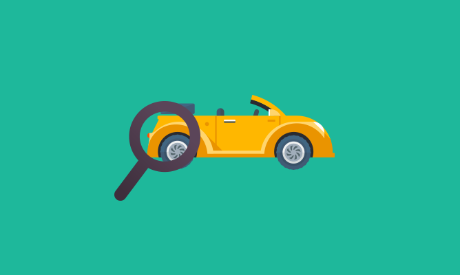yellow cartoon car with magnifying glass