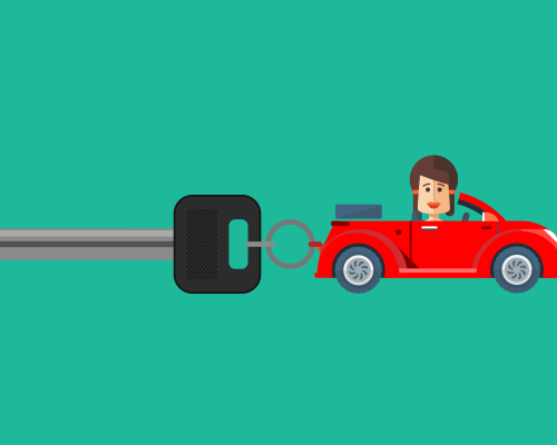 Cartoon red car with woman driving attached to car key