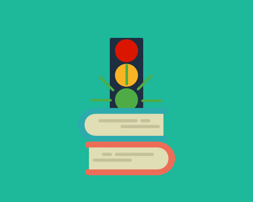 traffic lights on top of books