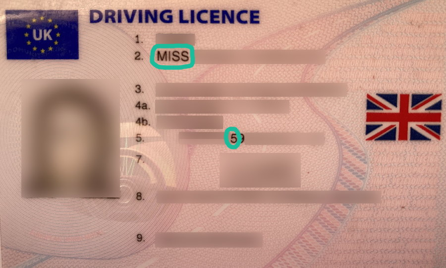Female driving licence with indications of gender highlighted