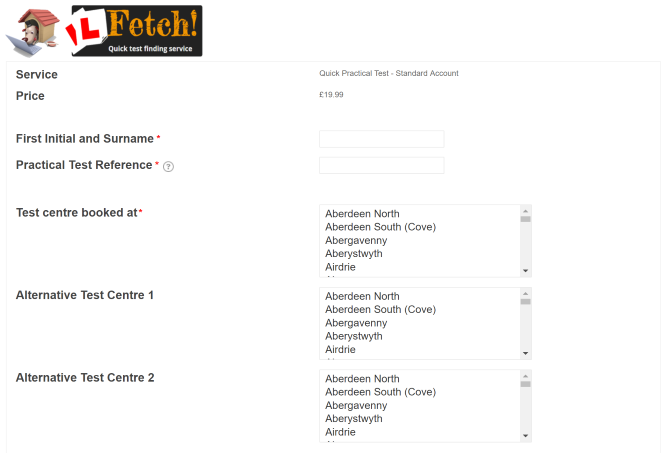 Top of the Fetch booking form