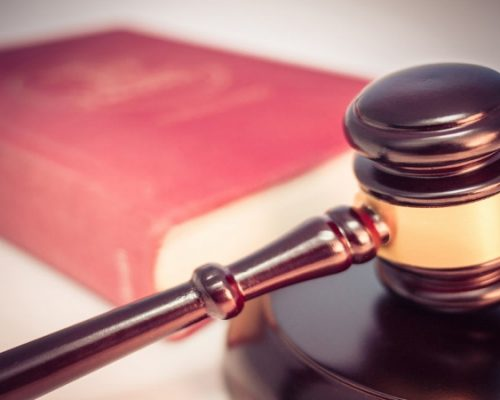 Image of a gavel and a red book