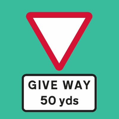 Give way at junction 50 yards road sign