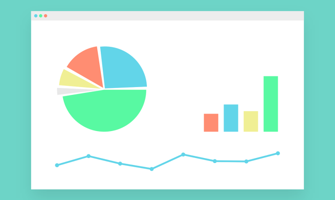 Animated pie chart, column graph and line graph shown in a desktop window on a blue background