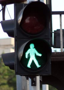 Green man at pelican crossing