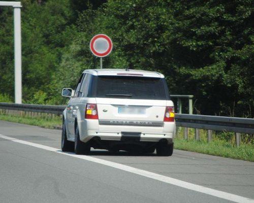 Range Rover car stopped on the hard shoulder