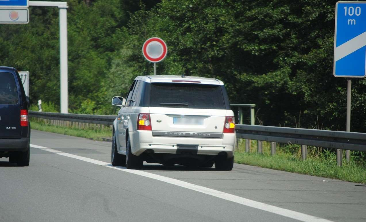 Range Rover car stopped on the hard shoulder