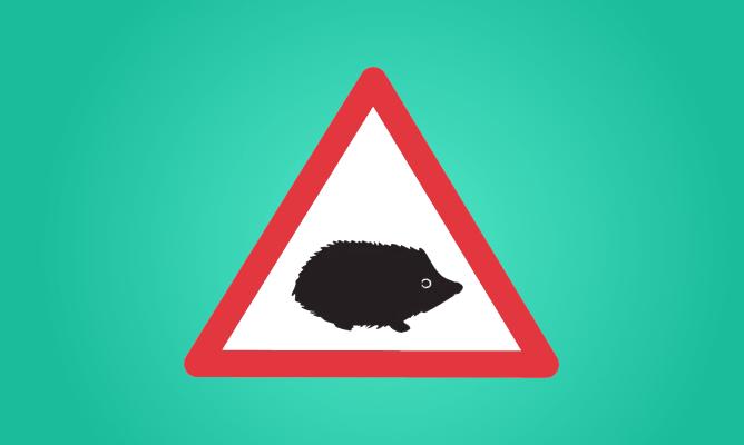 Hedgehog road sign