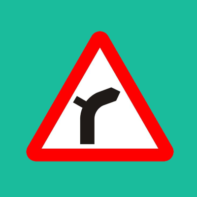 Junction on left bend ahead road sign