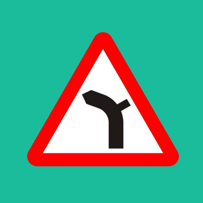 Junction on right bend ahead road sign