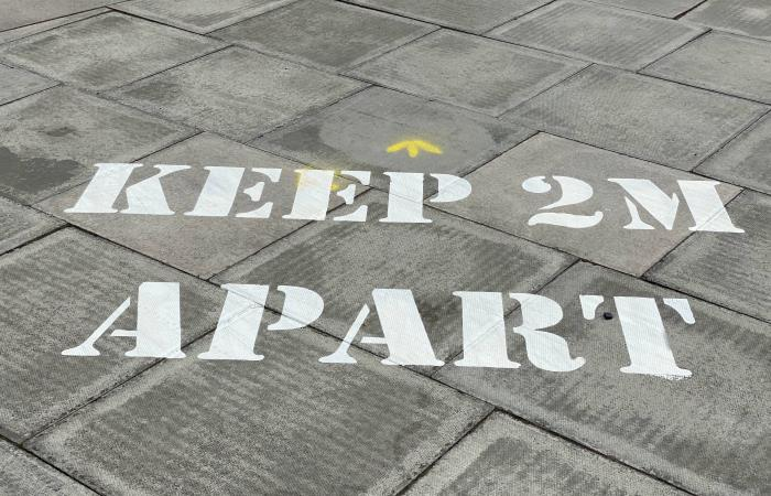 Keep apart sign on pavement