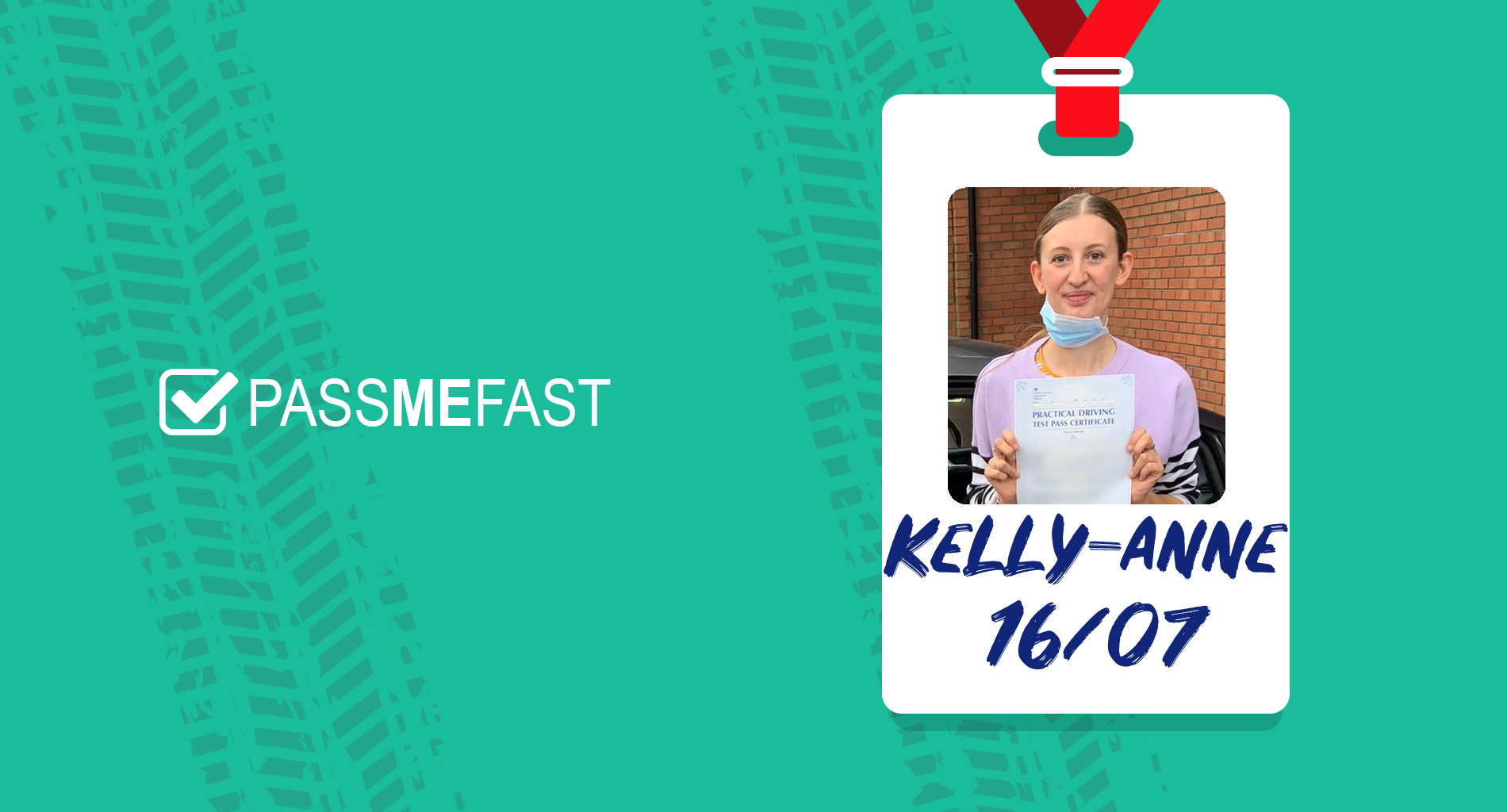 Pass photo of PassMeFast student Kelly-anne in hall of fame frame