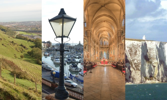 Collage of images from Kent: North Downs, Ramsgate harbour, Canterbury Cathedral and White Cliffs of Dover