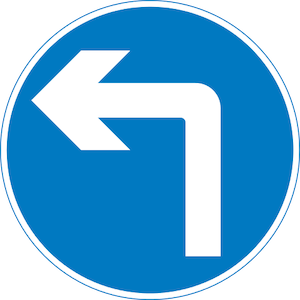 Left turn ahead only sign