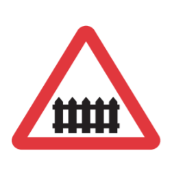 Level crossing with gate road sign