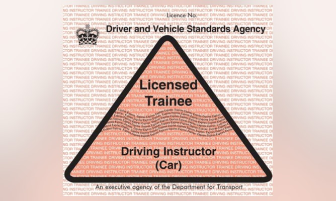 Licensed Trainee Driving Instructor (PDI) badge against a blurred pink background