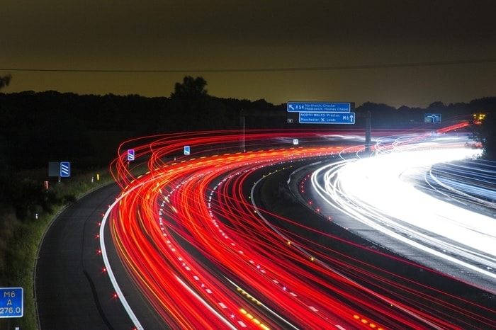 Blurred lights on the M6 motorway