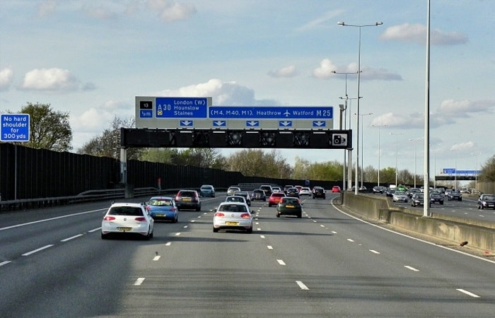 the London Orbital motorway near Egham