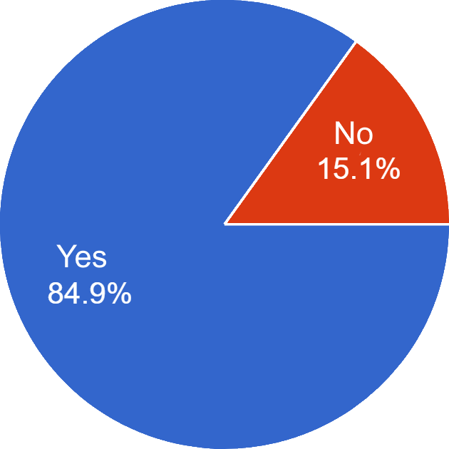 Longer independent driving section pie chart (Yes 84.9%, No 15.1%)