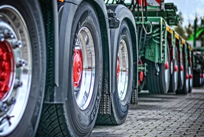 Wheels of two lorries