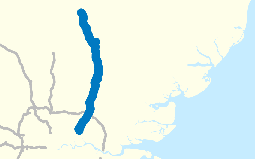 Map of the M11 motorway