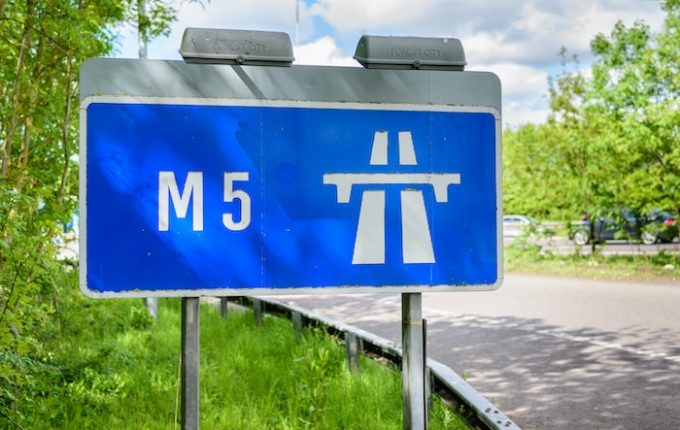 Blue M5 motorway sign