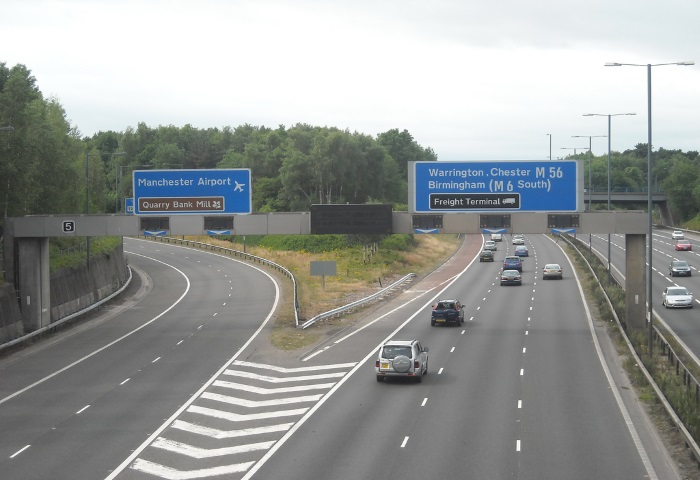 Cars driving down the M56 motorway