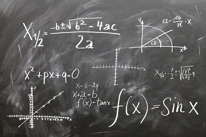 Mathematics formulas on a chalkboard