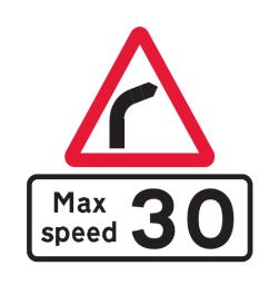 Maximum speed on bend road sign