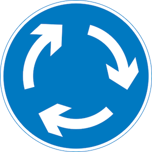 Mini roundabout sign give way to the right