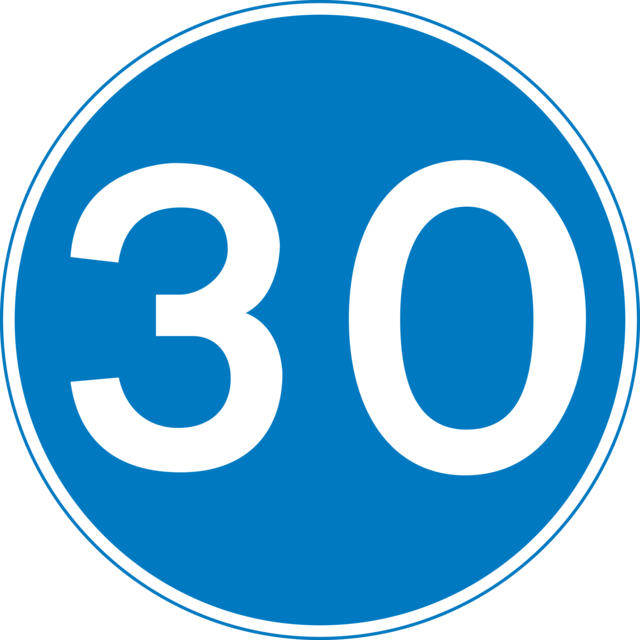 Minimum speed limit of 30MPH