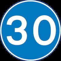 30mph minimum speed limit sign